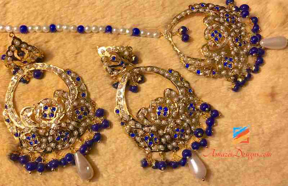 Jadau Dark Blue Earring Tikka Set