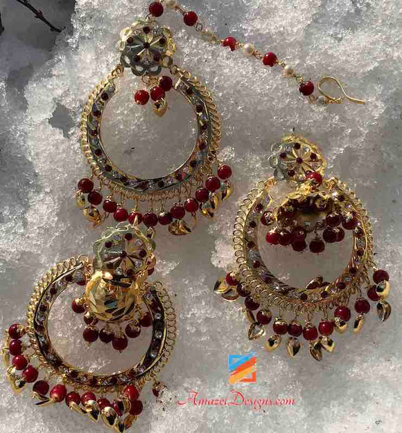 Jadau Dark Red Jhumki Earrings Tikka Set