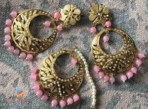 Jadau Earring Tikka Set with Pink Beads