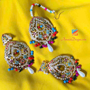 Jadau Multicolor Earring Tikka Set