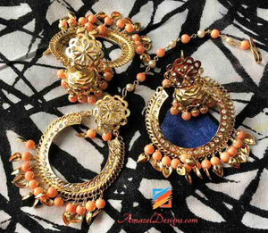 Jadau Pippal Patti Peach Small Jhumki in Center Earring Tikka Set