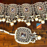 High Quality Polki Champagne Choker with Jhumka