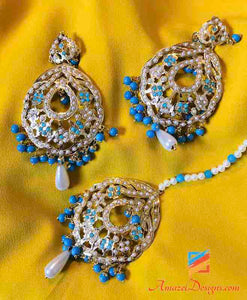 Jadau White Blue Earring Tikka Set