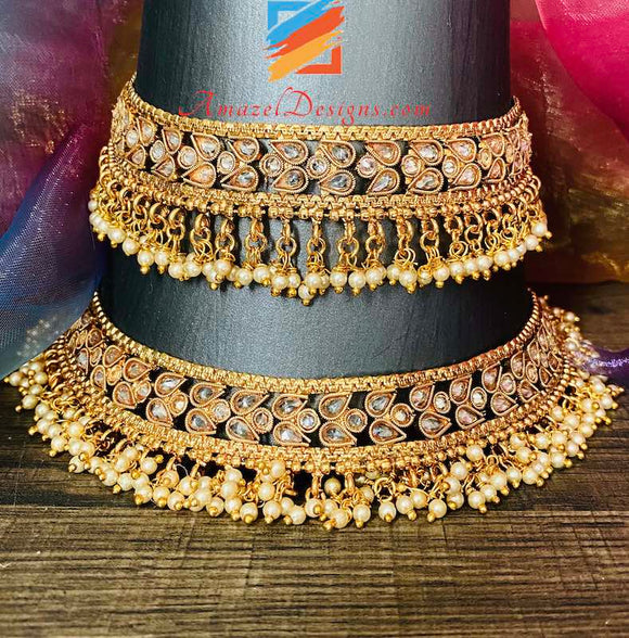 High Quality Polki Golden Jhanjar with Bunches of small beads