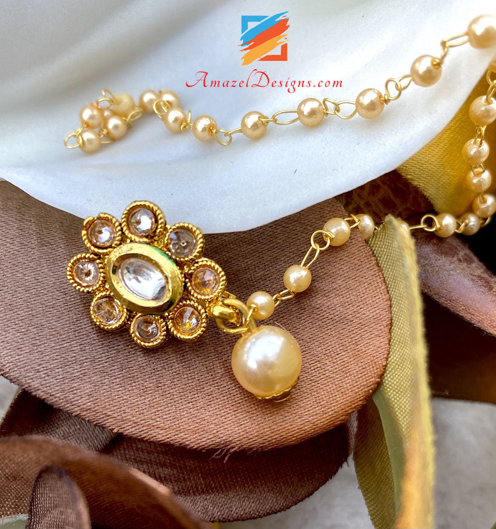 Kundan Clip On Nose Ring with Beads Chain