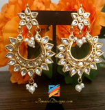 Original High Quality Kundan Earrings with White Pearls