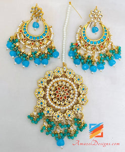 Kundan Feeroza Earrings Oversized Tikka Set