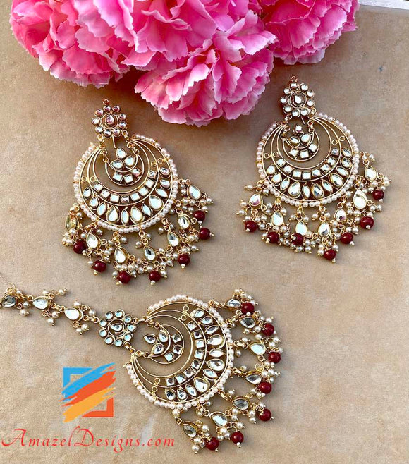 Kundan Maroon Lightweight Latest Tikka Set