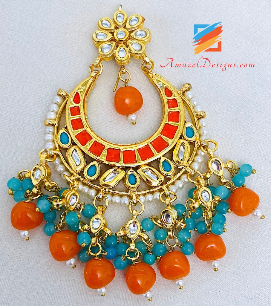 Kundan Orange Earrings and Oversized Tikka Set