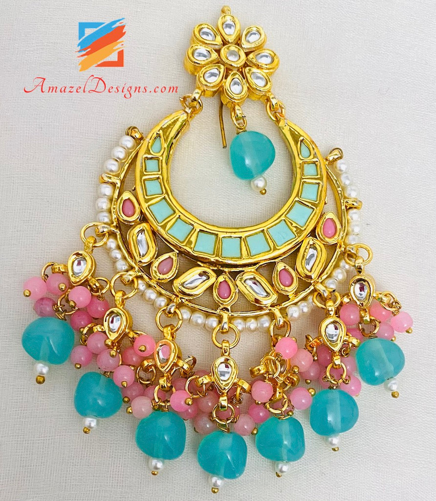 Kundan Pink and Feeroza Oversized Tikka Set