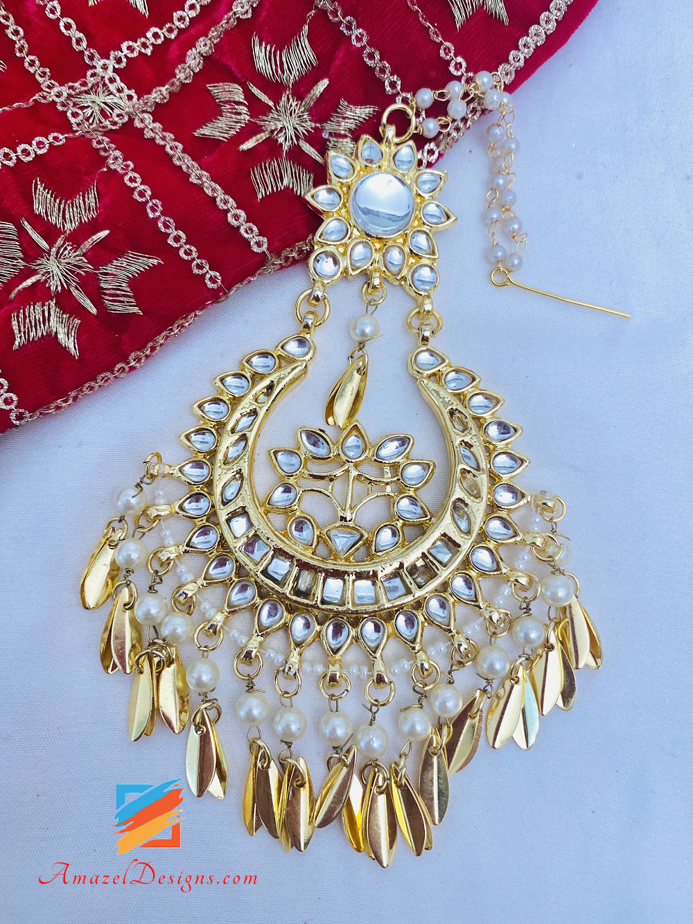 Kundan Pippal Patti Necklace with Oversized Earrings Tikka Sets
