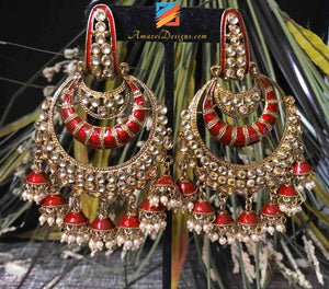 Kundan Chandbali Red Earrings
