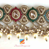 Multicolored Choker with Earrings and Tikka
