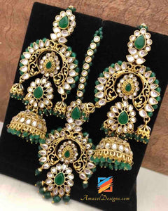 Kundan Maang Tikka with Jhumki Earrings