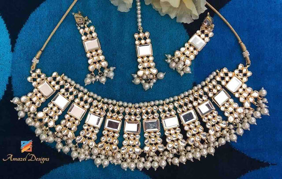 High Quality Kundan Chocker Earring Tikka Necklace Set
