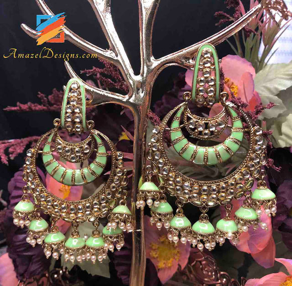 Kundan Sea Green Chandbali Earrings