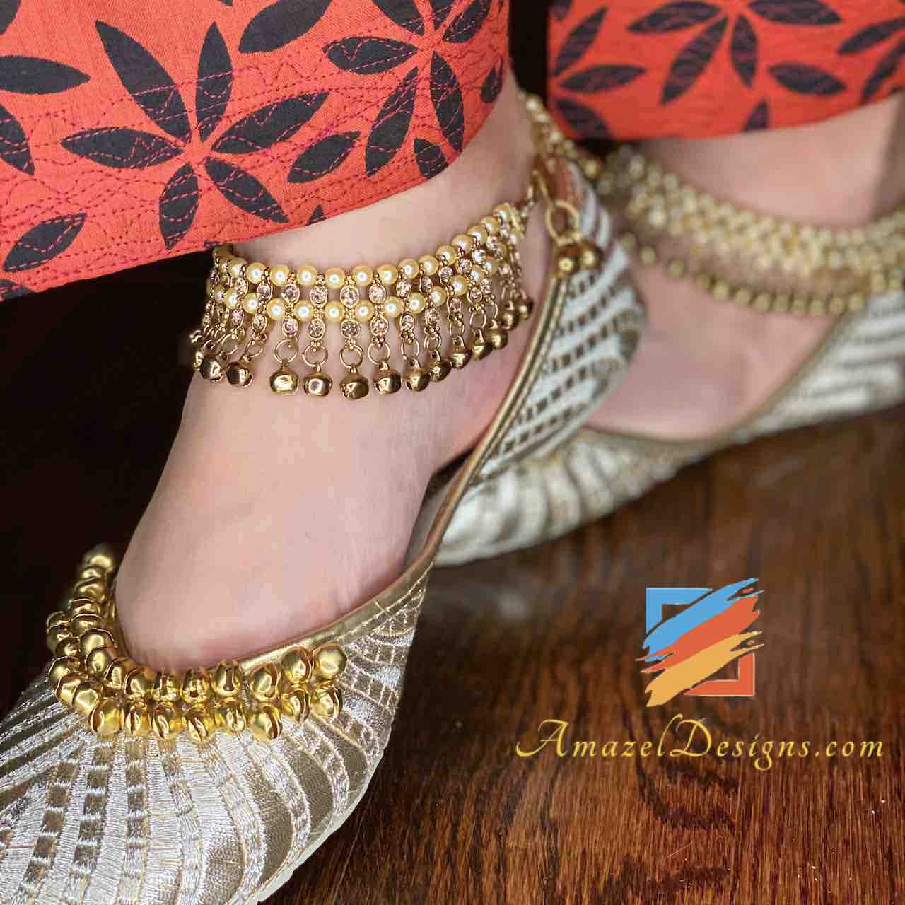 Champagne Stones Payal with Cream Beads and Ghungroo.