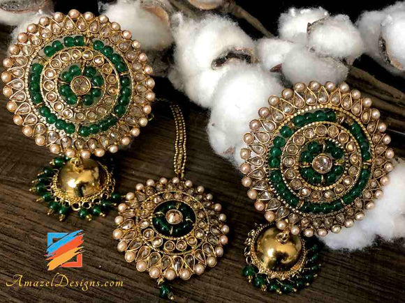 Polki Oversized Stud Small Jhumki Green Beads
