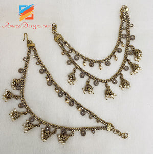 Layer Polki Sahara With Hanging Jhumkis