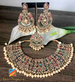 Champagne Color with Multicolored Jadau Beads