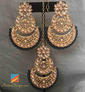 Light Weight Chand Bali With Dark Bluish Grey Earrings Tikka set