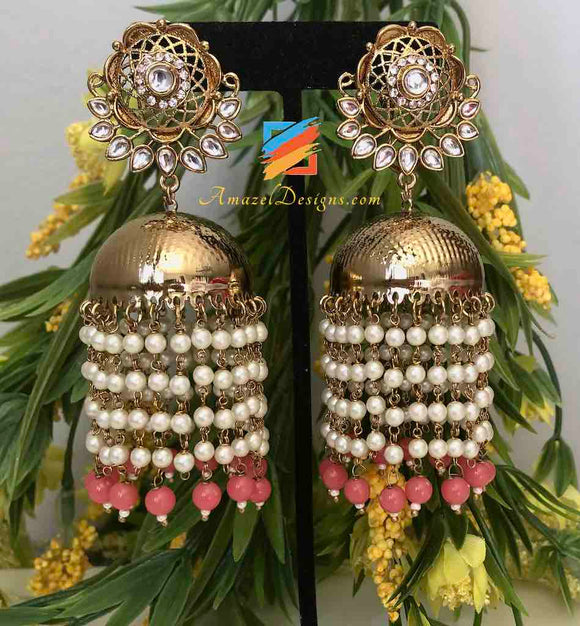Light Weight Jhumka with Hanging White and Pink Beads