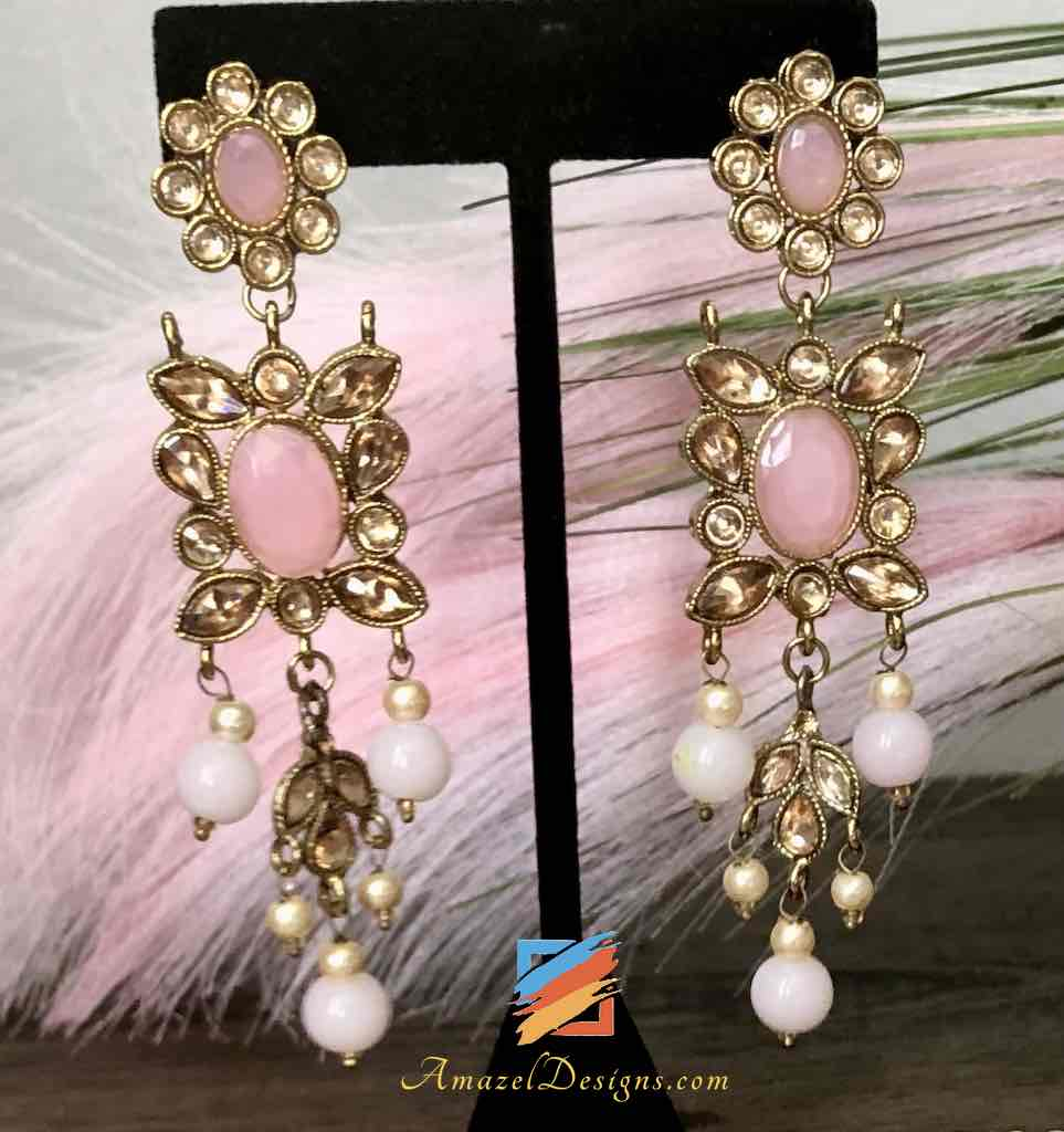 Light Weight Champagne and Baby Pink Choker with Earrings Tikka Set