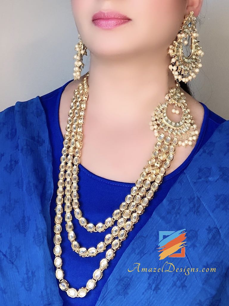 Long Three Layered Original Kundan Mala Earrings Set