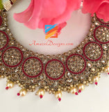 Magenta Polki White Beads Necklace and Jhumki Tikka Set