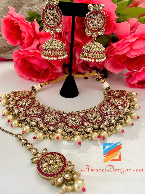 Magenta Polki White Beads Bridal Necklace and Jhumki Tikka Set