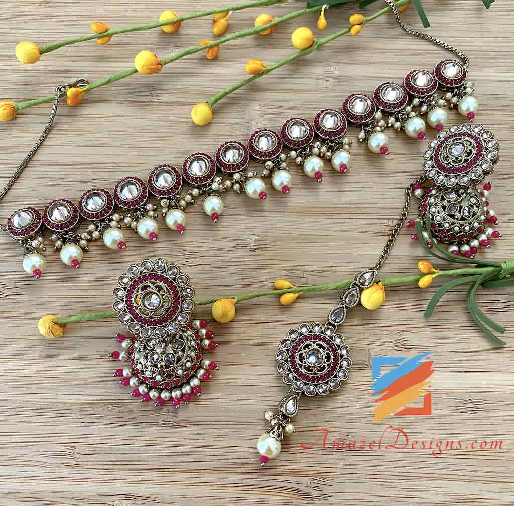 Magenta with Champagne Stones Choker Jhumki and Tikka Set