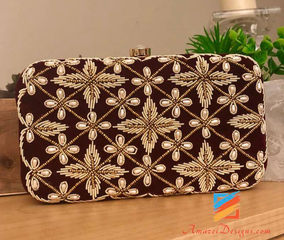 Maroon Clutch with Beads