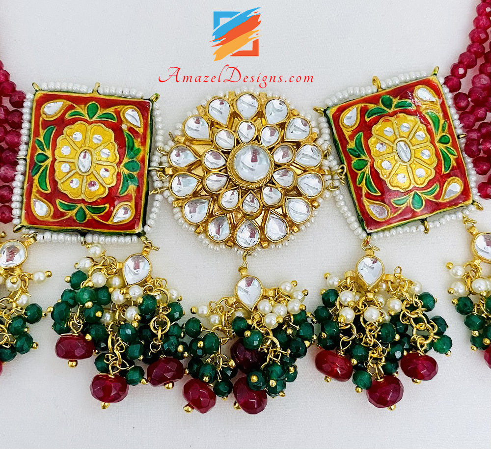 Maroon Green Hand Painted Meenakari Necklace Earrings Set