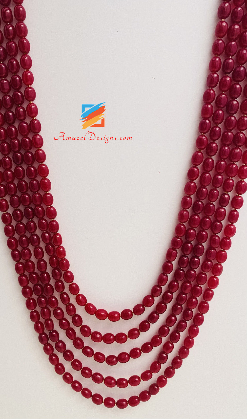 Maroon Large 5 Layers Groom Mala