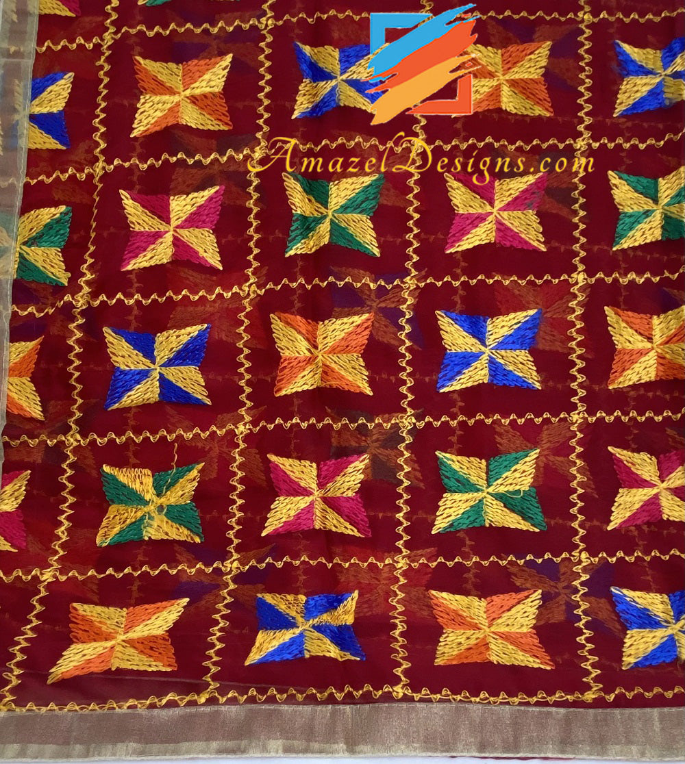 Maroon Phulkari With Tissue Gotta