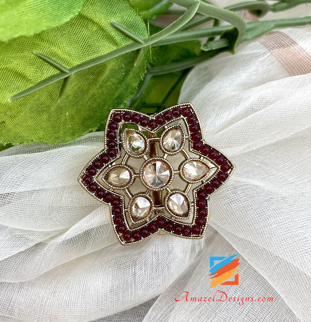 Maroon Polki Adjustable Ring