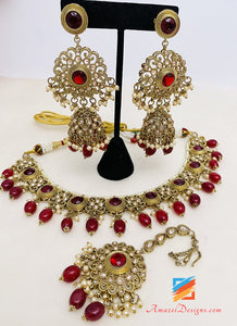 Maroon Polki Kundan Necklace Earrings Tikka Set