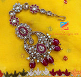 Maroon Polki Wedding Necklace with Chandbali Jhumki Earrings Tikka Set