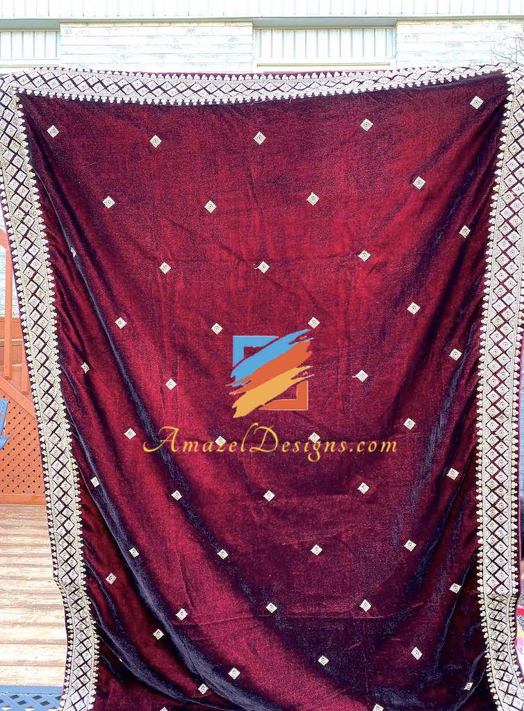 Maroon Velvet Shawl with Golden Tilla Sippi Work