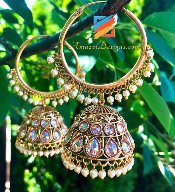 Medium Size Golden High Quality Polki Vaali with Jhumki