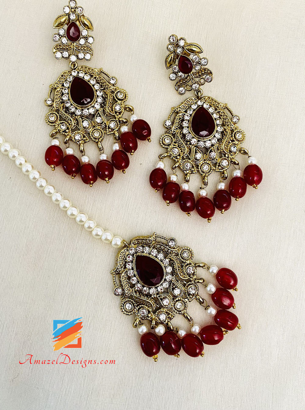 Mehroon Choker Necklace With Passa Earrings And Tikka Set