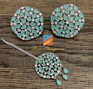 Mint AD American Diamond Necklace Stud Tikka Set