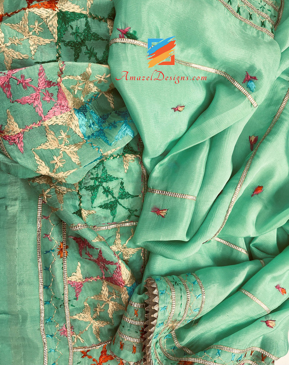 Mint Aari Work Fulkari With Samosa Lace