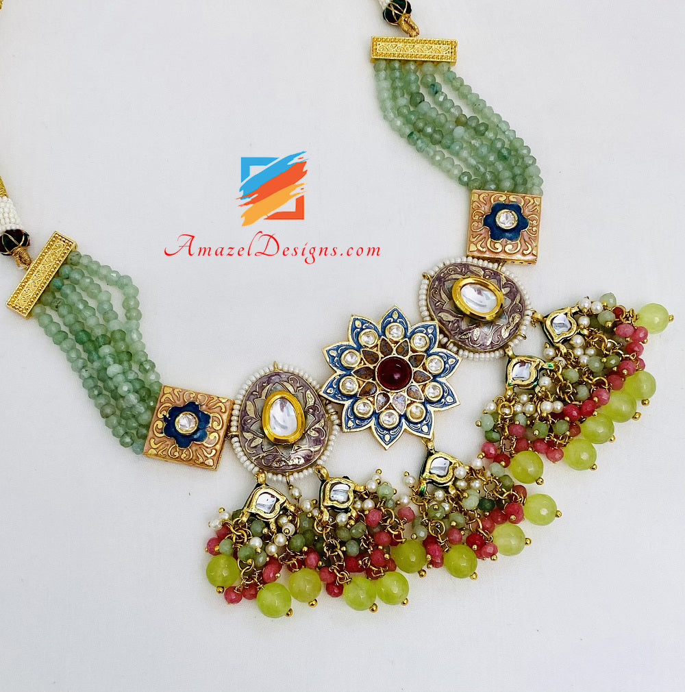 Mint Multicoloured Meenakari Hand Painted Necklace Earrings Set