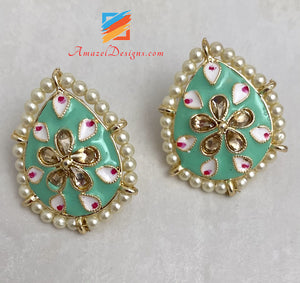 Mint Painted Meenakari Studs