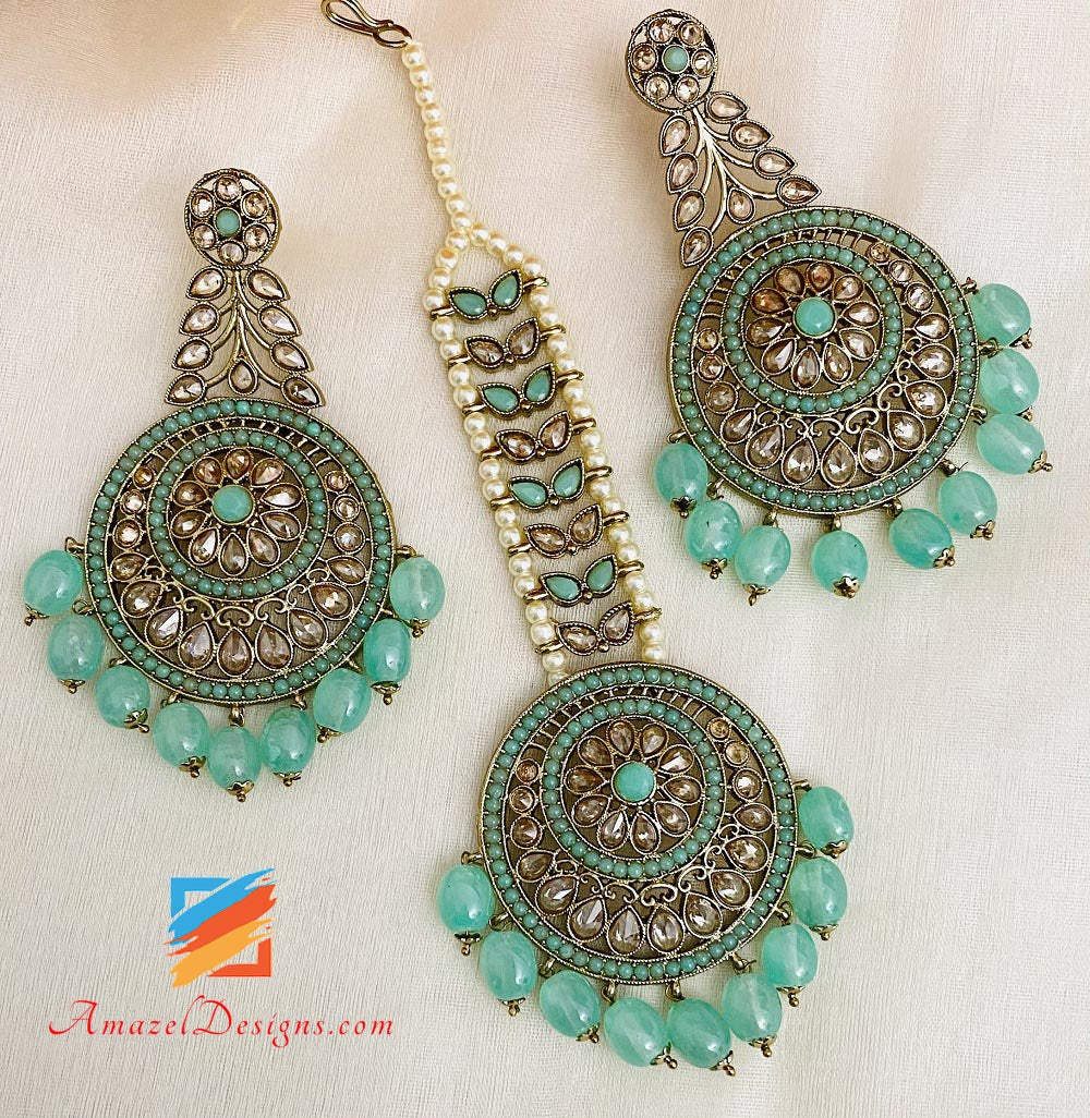 Mint Polki Earrings Tikka Set