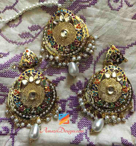 Multicolor Jadau With Hanging White Pearl and Beads