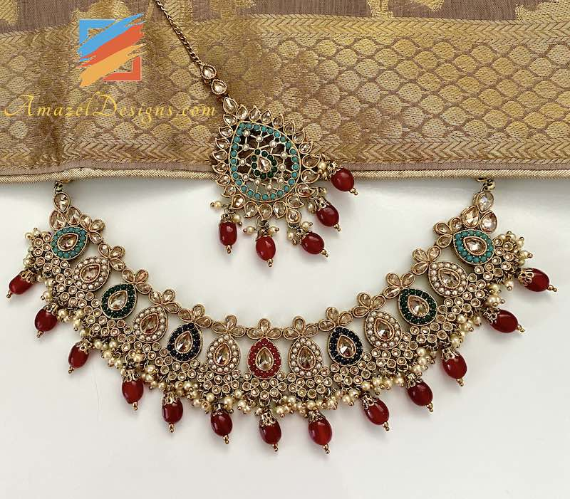 Multicolored Necklace Set with Earrings Tikka