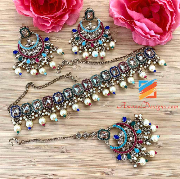 Multicolored Choker with white Pearls Earrings Tikka Set