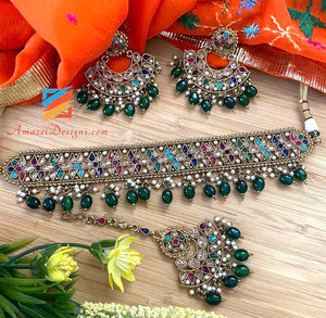 Multicolored Emerald Pearls Choker with Earrings Tikka Set